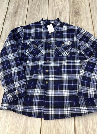Стильная рубашка пальто куртка h&m джинсовка утеплённая zara asos клетчатая в клетку тренд