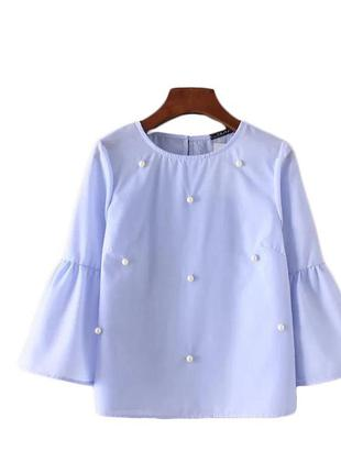 Блузка блуза рубашка с расклешенным рукавом с жемчугом