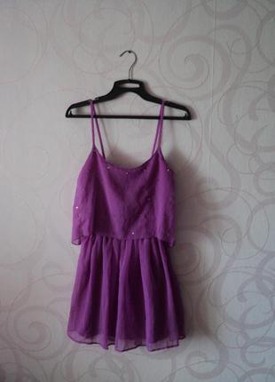 Фиолетовый сарафан с камешками, летнее платье, легкий сарафан на лето