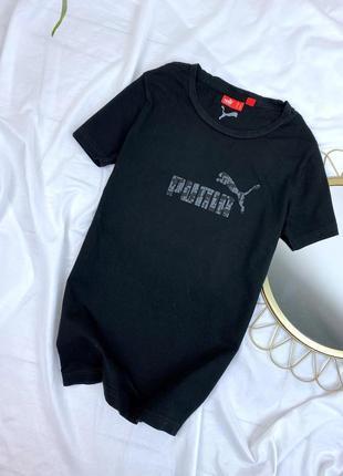 Чёрная катоновая футболка puma спортивная