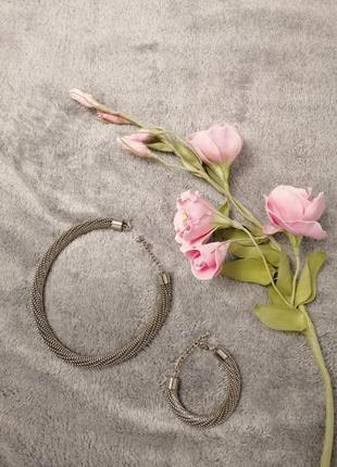 Набор ожерелье и браслет крупная цепь
