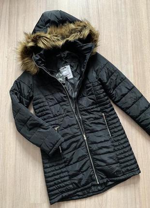 Пальто женское демисезонное чёрное с капюшоном