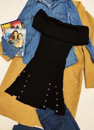 Boohoo платье чёрное с открытыми плечами новое с биркой