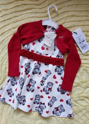 Платье  monnalisa  + болеро 18м с мишками , люксовый   бренд