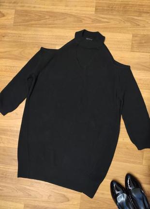 River island чёрное вязаное платье с открытыми плечами
