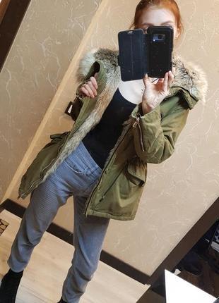Меховая куртка, крутая  парка zara trafaluc