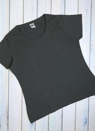 💥1+1=3 фирменная серая женская базовая футболка fruit of the loom, размер 50 - 52