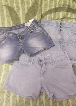 Джынсовые шорты летние  на девочку, 3 штуки