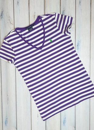 Брендовая женская футболка в полоску ralph lauren оригинал, размер 42 - 44