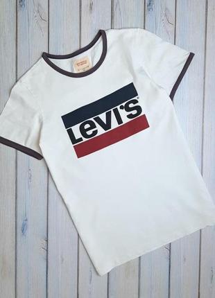 Шикарная белая женская футболка хлопок levis, размер 46 - 48
