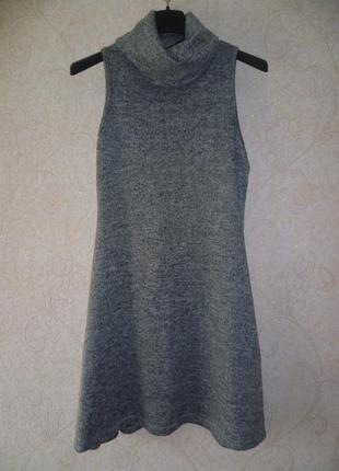 Платье сарафан zuiki, платье мини, сукня, осеннее платье под горло xs-s