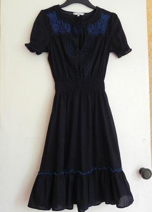 Оригинальное натуральное платье,сарафан с вышивкой рукав фонарик s/m(см.замеры)