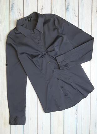 💥1+1=3 фирменная серая приталенная блуза рубашка amisu, размер 44 - 46