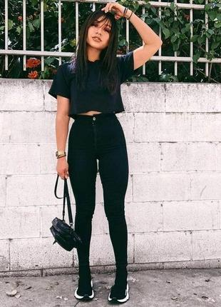 🌿 стрейчевые, черные джинсы скини с лайкрой от denim co