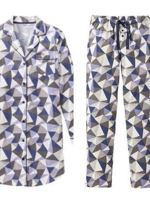 Комплект халат и штаны, фланель, esmara