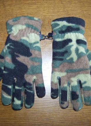 Камуфляжные утепленные флисовые перчатки детские peter storm 7-10