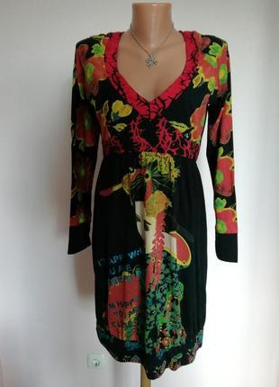 Ексклюзивное фирменное принтовое трикотажное миди платье/l-m/brend desigual