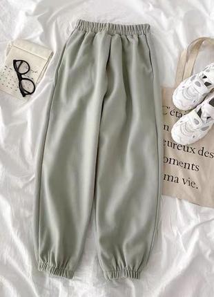 Яркие штаны 💔 •тёплая ткань фетр  •42-44 • цвета: серый, белый, пудра, фисташка • длина: 9