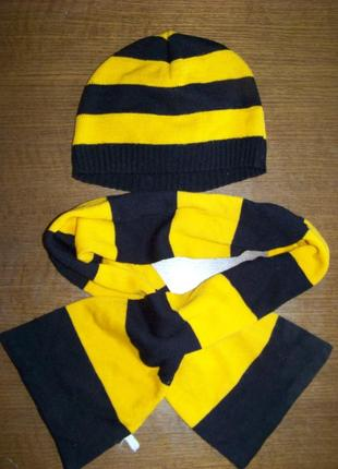 Черно-желтый полосатый комплект шапка плюс шарф