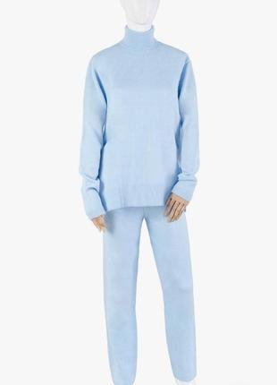 Женский голубой трикотажный костюм тёплый