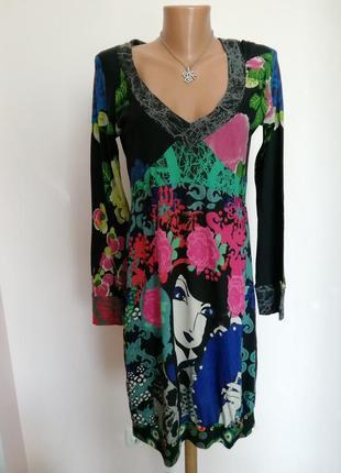 Оригинальное фирменное трикотажное платье/ m-l/brend desigual