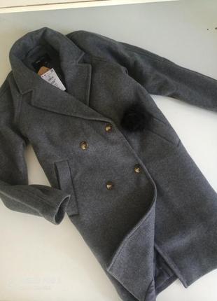 Стильное базовое серое пальто бойфренд с рукавами реглан sinsay
