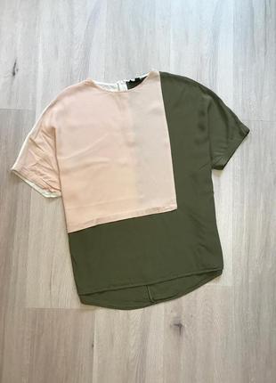 Натуральная свободная блузка футболка натуральна блуза комбінація оверсайз