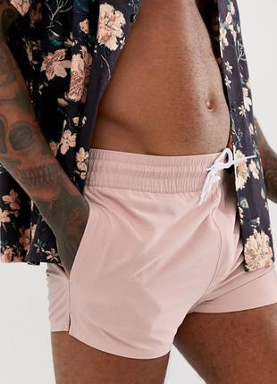 Мужские короткие шорты asos светло-розовые