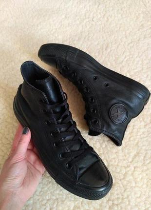 Базовые чёрные кеды converse (оригинал), натуральная кожа,кожаные  кроссовки