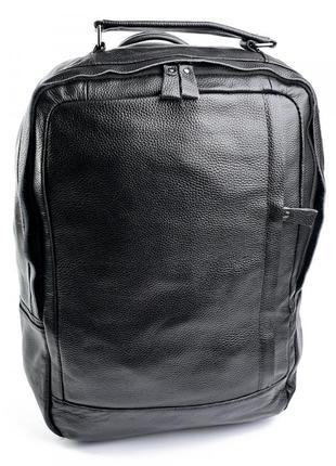 Городской рюкзак из натуральной кожи для ноутбука с входом usb jack черноего цвета черный