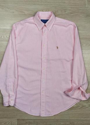 Ralph lauren женская рубашка оверсайз размер 8 розовая полоска