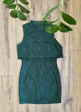 Платье темно-зелёное нарядное kira plastinina