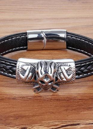 Модный стильный молодежный браслет из натуральной кожи wrench skull
