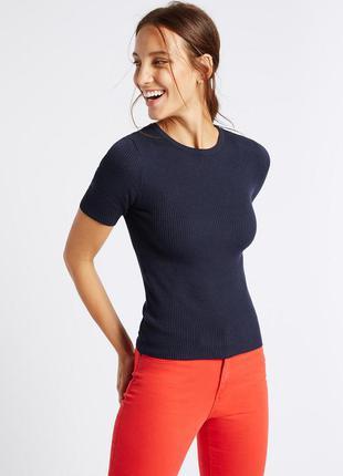 Новый топ в рубчик marks&spencer с биркой блуза футболка офисный стиль