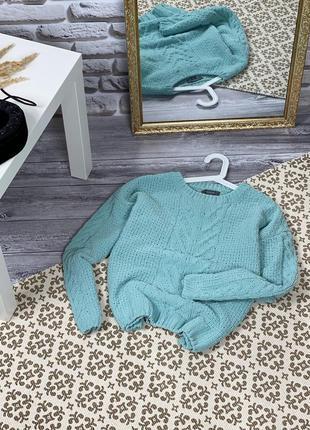 Шикарный велюровый цвета тиффани джемпер