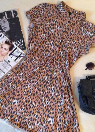 Очень милое платье topshop с кошачей рассцветкой и воротником