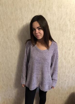 1+1=3❤️🎁сиреневый свитер, очень мягкий.оверсайз
