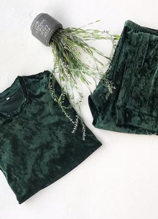 Зелёный велюровый бархатный костюм для дома кофта со штанами, піжама, пижама