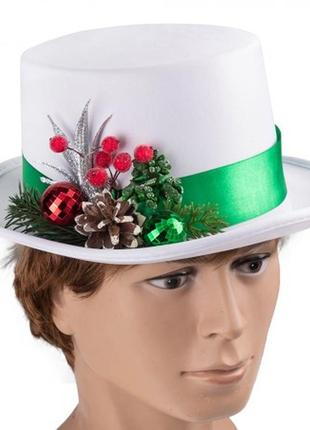 Шляпа цилиндр белая новогодняя мужская
