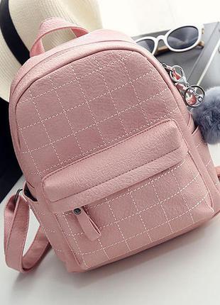 99ca4005e733 Рюкзак женский кожаный молодежный стильный с помпоном розовый, цена ...