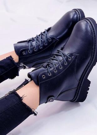 Ботинки (зима - эко мех) черные экокожа