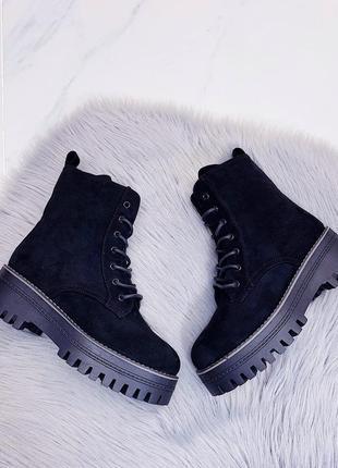 Ботинки зимние черные, экозамша + экомех