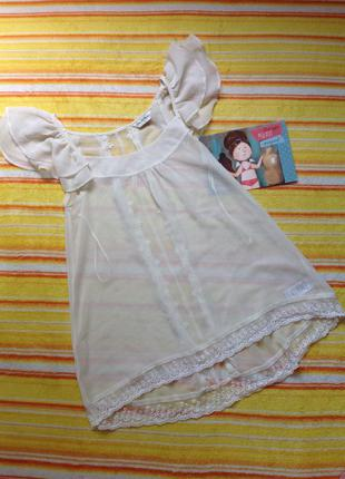 Очень красивая молочная блуза с кружевом xs