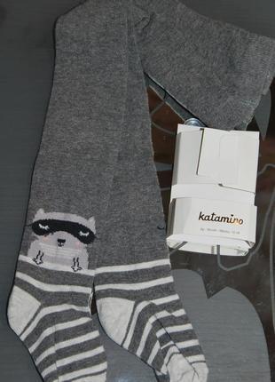 Демисезонные колготы 12-18 месяцев 1-1,5 года катамино katamino енот