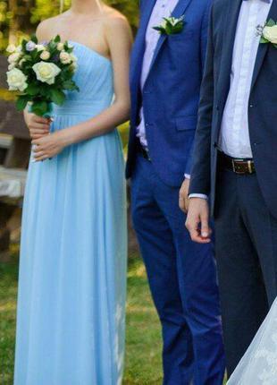 Небесно-голубое платье в пол от little mistress