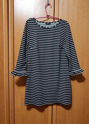 Стильное черно-белое платье в полосочку, короткое платье, сукня