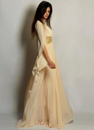 Эксклюзив роскошное вечернее платье с удлиненными рукавами выпускной свадьба