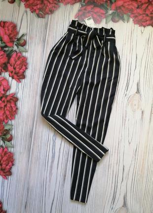 🌿бомбезные брюки в полоску с высокой посадкой от h&m. размер m-l.🌿