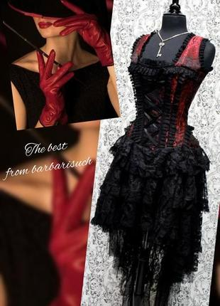 Платье бурлеск burlesque из красной королевской парчи ophelie, черное
