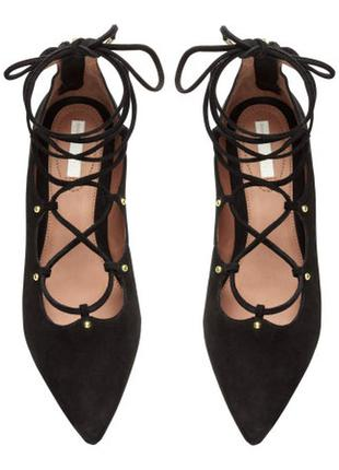Балетки со шнуровкой,замшевые балетки h&m premium 39размер